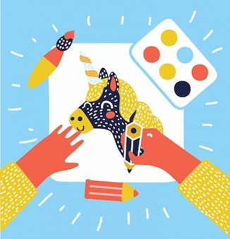 Flat illustration of hands painting, drawing and crafting on white paper with space for your text on wooden table