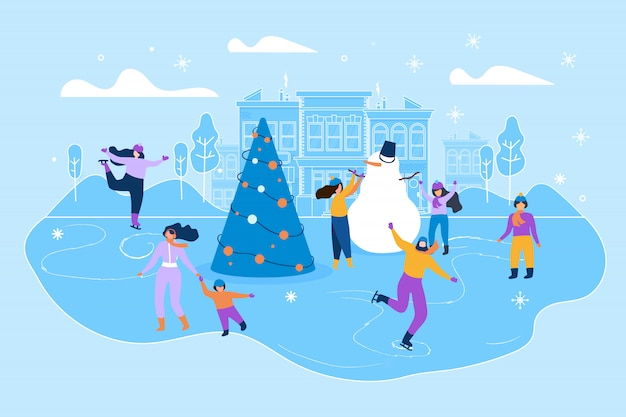 Flat illustration ice rink on big city street.
