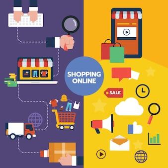Flat illustration icon design set of shopping online concepts,