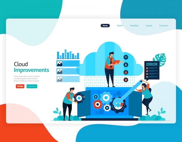 Flat illustration of improvements cloud . repair and maintenance of cloud storage technology.