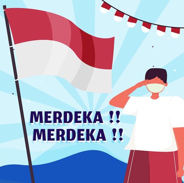Плоский иллюстрация день независимости индонезии баннер социальных сетей синем фоне