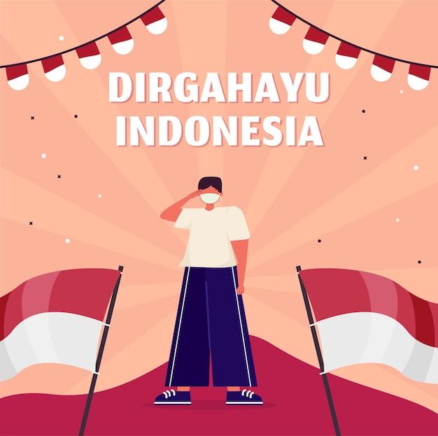 Плоский иллюстрация день независимости индонезии баннер социальных сетей
