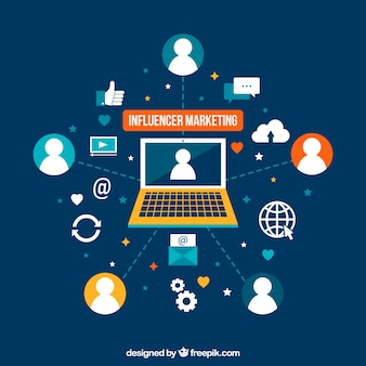 Flat illustration influencer marketing
