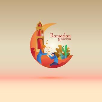 Flat illustration for islamic ramadan greeting post