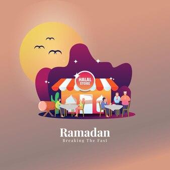 Flat illustration for islamic ramadan when breaking the fast