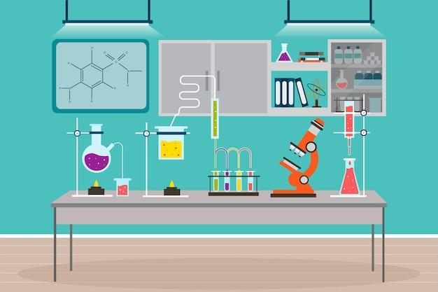 Stanza del laboratorio di illustrazione piatta