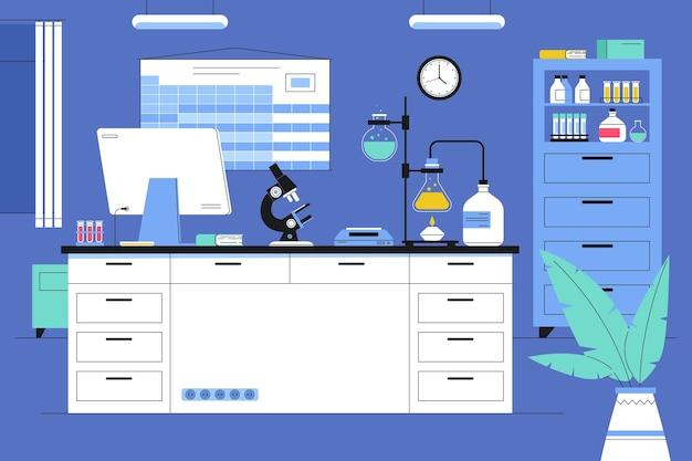 Flat illustration laboratory room
