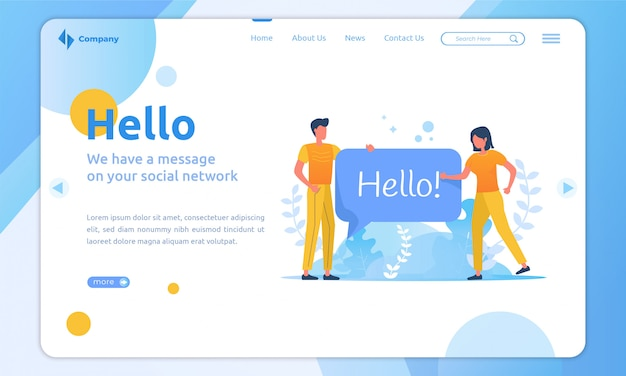 Flat illustration on landing page about people saying hello