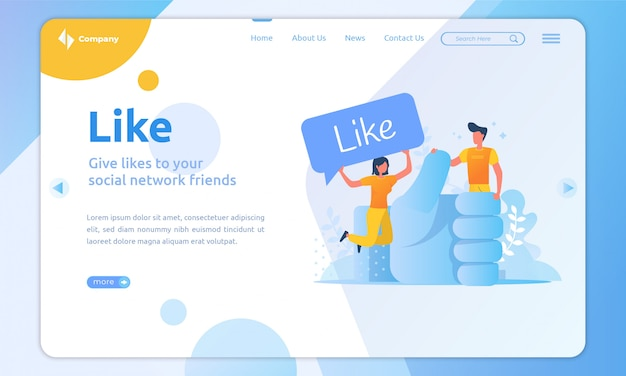 Flat illustration like on social media landing page template