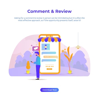 Flat illustration of a man review and comment for online store