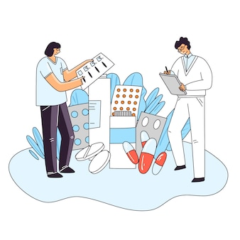 Flat illustration of man and woman characters checking up medical drug, pill, capsule for human health. medicine pharmaceutical treatment and research concept, rx prescription doctor choice
