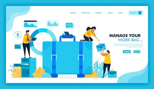 Flat illustration of managing work briefcase, we hiring employees and job seeke.