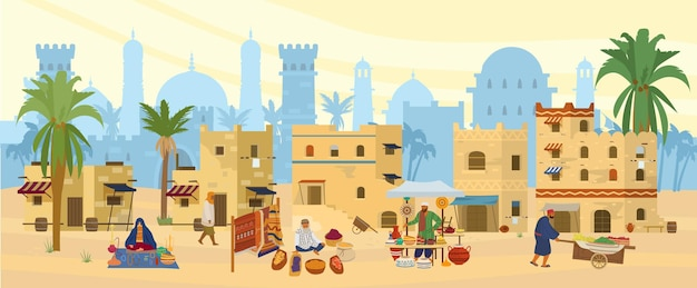Flat illustration of middle eastern town.