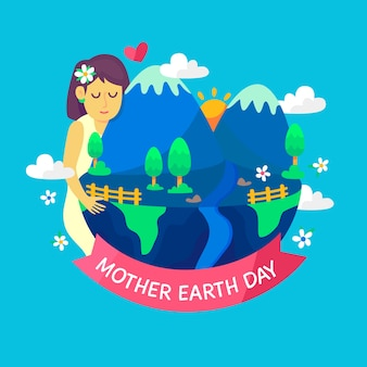 Flat illustration of mother earth