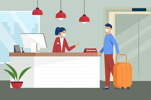 Flat illustration new normal in hotels