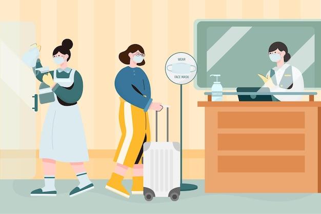 Плоская иллюстрация новая нормальная в отеле