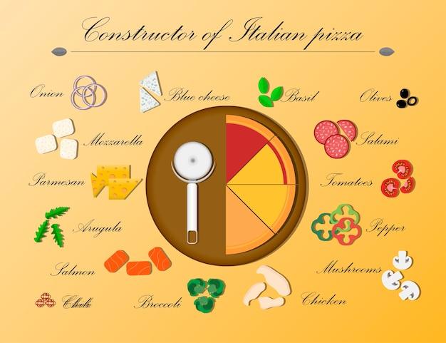 Плоский рисунок дизайнера итальянской пиццы на деревянном блюде векторные иллюстрации