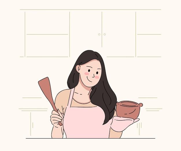 여자의 평면 그림은 부엌에서 요리