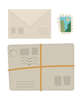 小包、手紙、切手のフラットなイラスト。白い背景で隔離のオブジェクトアイコンを投稿します。文房具や休暇のインフォグラフィック要素。