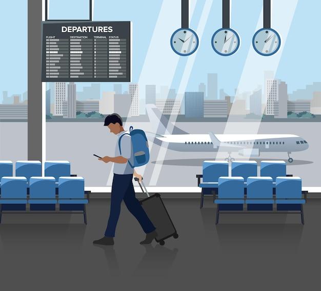실내 공항의 평면 그림 : 의자, 도착 및 출발 보드, 시계, 창문 및 승객이있는 홀