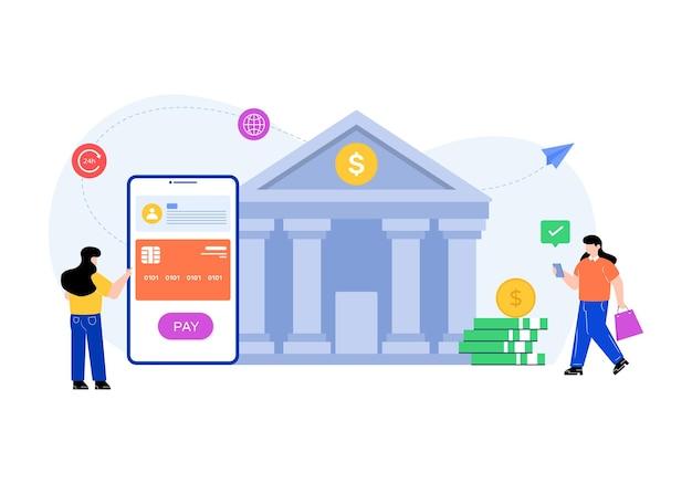 Плоская иллюстрация редактируемого вектора банковских услуг