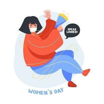 국제 여성의 날 축하에 아름답고 귀여운 소녀의 평면 그림