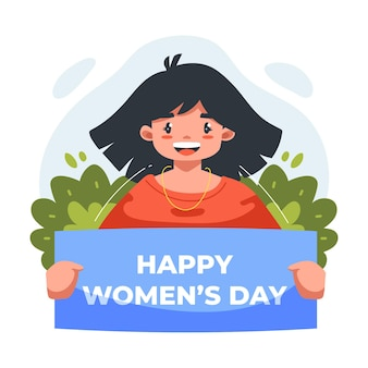 国際女性の日のお祝いで美しくてかわいい女の子のフラットイラスト