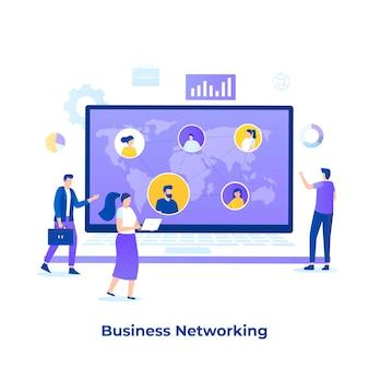 비즈니스 네트워킹 개념의 평면 그림입니다. 웹 사이트, 방문 페이지, 모바일 응용 프로그램, 포스터 및 배너에 대한 그림입니다.