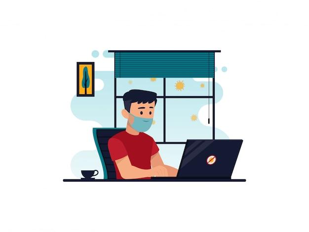 코로나 바이러스 예방을 위해 집에서 컴퓨터에서 작업하는 캐릭터의 평면 그림
