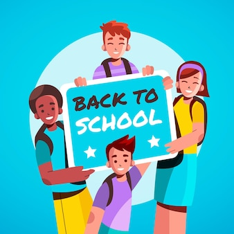 学校に戻る子供たちのフラットなイラスト
