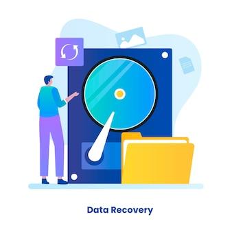 Плоский рисунок концепции восстановления данных. иллюстрации для сайтов, лендингов, мобильных приложений, постеров и баннеров.