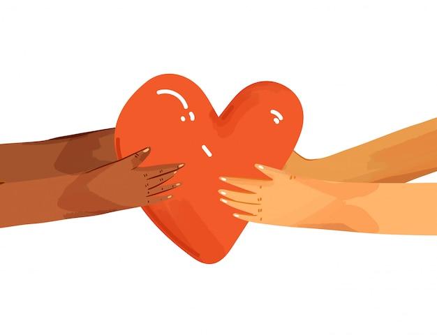 사랑을 공유하는 다양한 사람들의 평면 그림. 마음을주는 손.