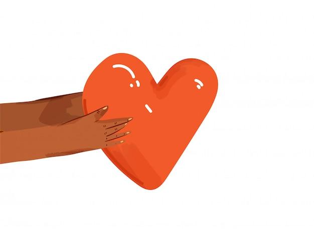 서로 사랑, 지원, 감사를 공유하는 다양한 사람들의 평면 그림. 연결과 화합의 표시로 마음을주는 손. 고립 된 사랑 개념