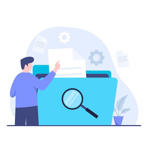 문서 검색 디자인 개념의 평면 그림입니다. 웹사이트, 방문 페이지, 모바일 애플리케이션, 포스터 및 배너용 일러스트레이션