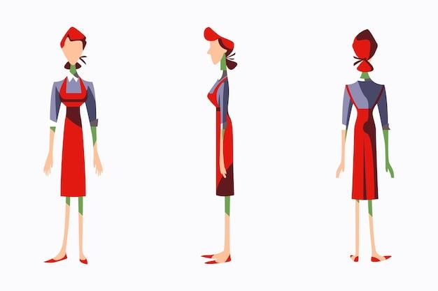 여성 하인 캐릭터의 평면 그림