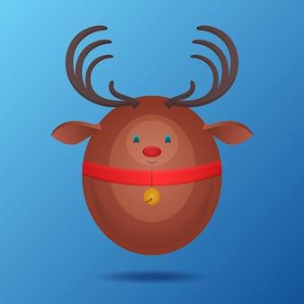 Плоская иллюстрация праздничного оленя и колокольчика для вашего творчества
