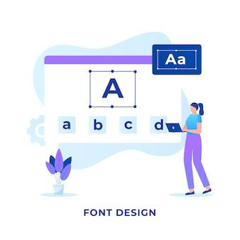 フォントデザインコンセプトのフラットイラスト