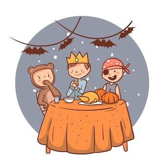 夕食を食べているハロウィーンの人々のフラットなイラスト