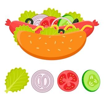 ホットドッグと食材のフラットイラストファーストフードのコンセプトソーセージと野菜のホットドッグ