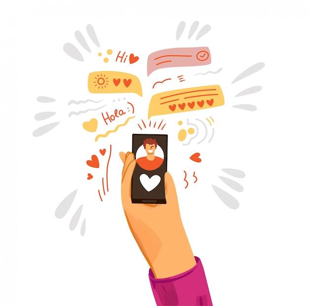 인간의 손에 사랑을주고 데이트 앱에 바로 슬쩍의 평면 그림. 스마트 폰의 로맨틱하고 사랑 찾기. 온라인 채팅 및 데이트 개념