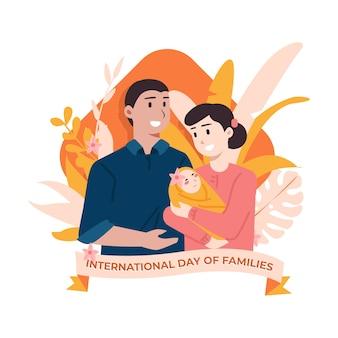 家族の国際デーのフラットの図