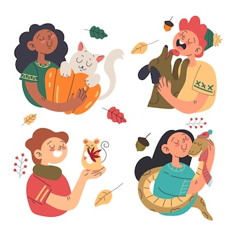 가을에 애완 동물을 키우는 아이들의 평면 그림
