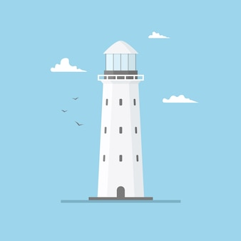 Плоская иллюстрация здания маяка и голубого неба. прожекторная башня с чайками и облаками