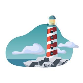 灯台の建物の平らなイラスト。海洋と海の海辺の背景。岩だらけの海岸に立つタワー。