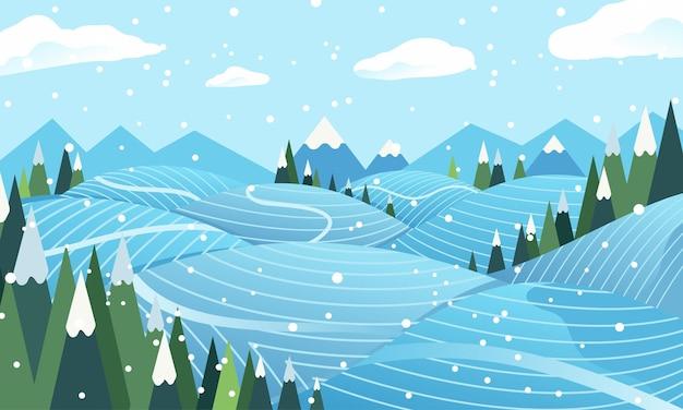 冬の牧草地のフラットイラスト。