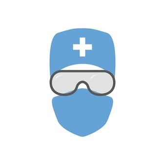 衛生兵着用マスクのフラットイラスト