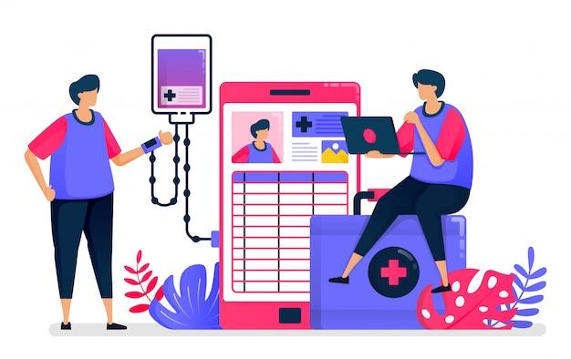 患者のためのモバイル診断および治療サービスの平らなイラスト。健康テクノロジー。ヘルスケアのためのデザイン。