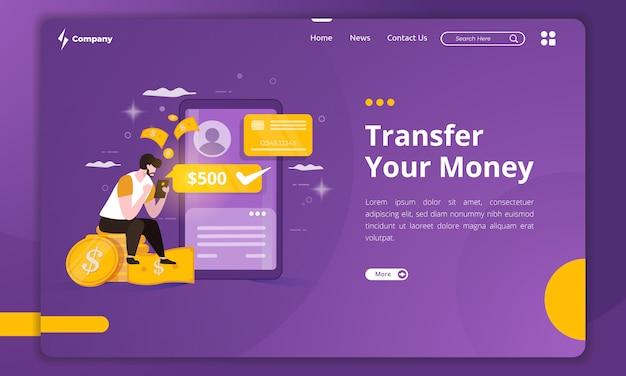 Плоская иллюстрация денежного перевода на шаблоне целевой страницы