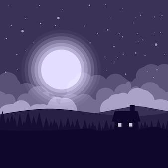 Плоская иллюстрация ночи с домом и лунным светом Premium векторы