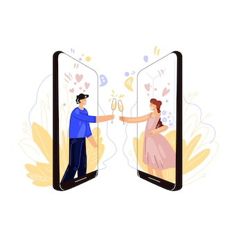 オンライン出会い系業界の平らなイラスト。幸せな男と女、ロマンチックなリモートの夜と日付を持つワインやシャンパンのグラスをチャリンという音。仮想の愛と日付の概念。